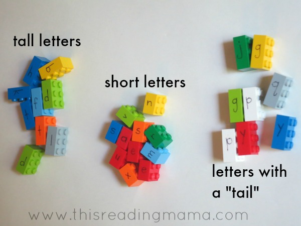 sorting letters by their shape with LEGO bricks