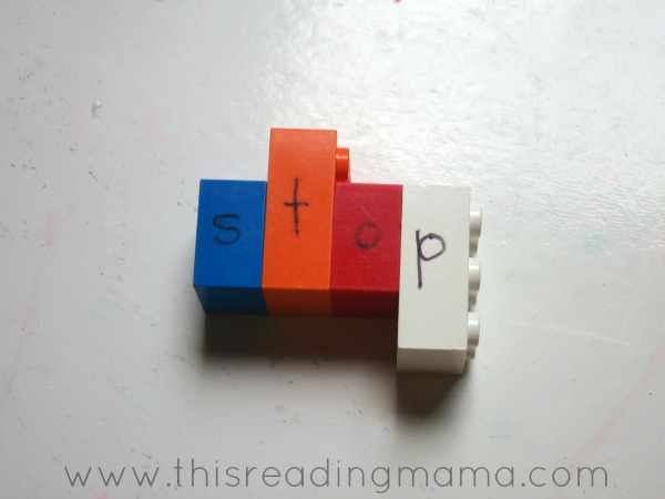 spelling sight words with LEGO Letters