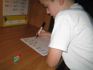 writing sight words after rolling dice