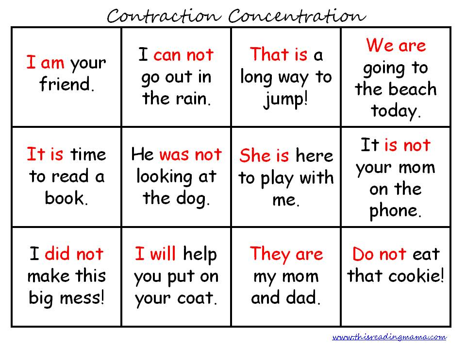 FREE Contraction Printables – Contractions with Not Worksheet