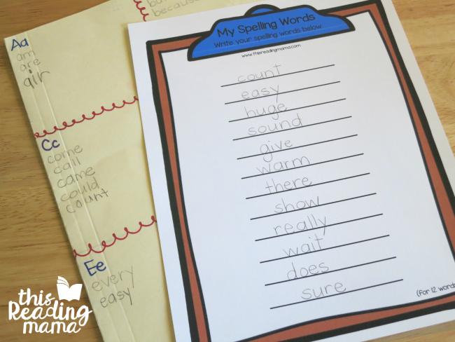 choosing spelling words for the sight word egg hunt