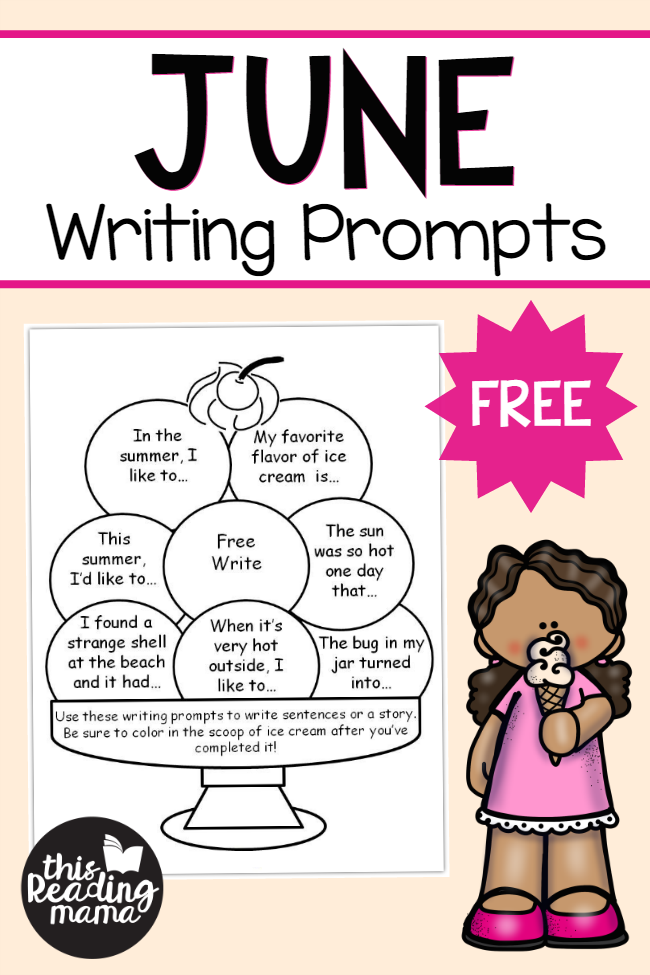 FREE June Writing Prompts - Write and Color - This Reading Mama