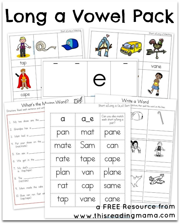 Long A Vowel Pack on Worksheets For Preschool My Family