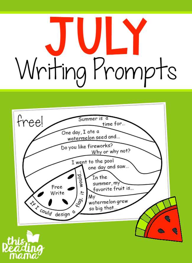 FREE July Writing Prompts - Write and Color - This Reading Mama