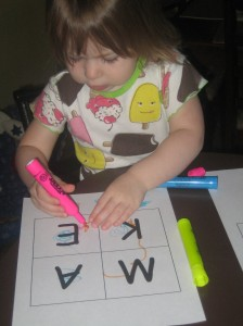 coloring her letters