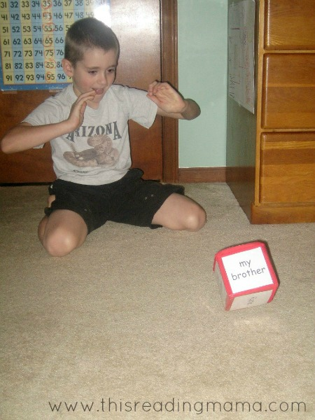 rolling educational dice to make sentences
