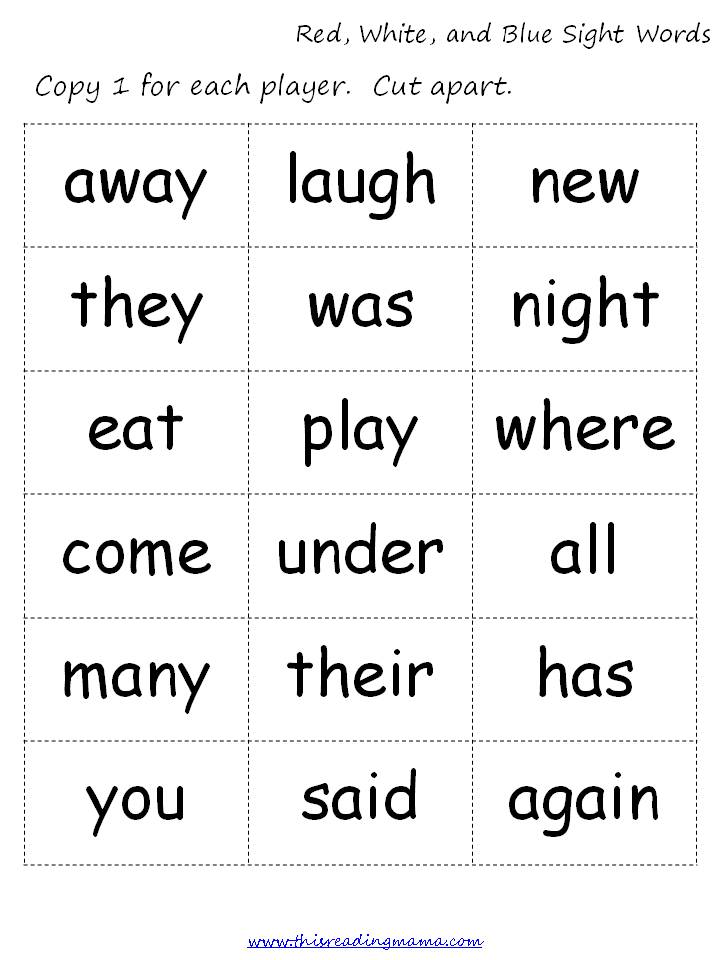 image relating to Printable Sight Word known as Pink, White, and Blue Sight Phrases (No cost Printable) - This
