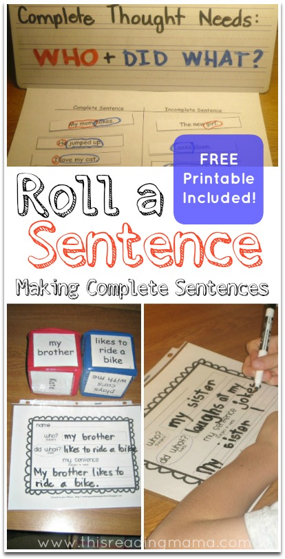 image about Sentence Building Games Printable identified as Roll a Sentence (Cost-free Printable Integrated)