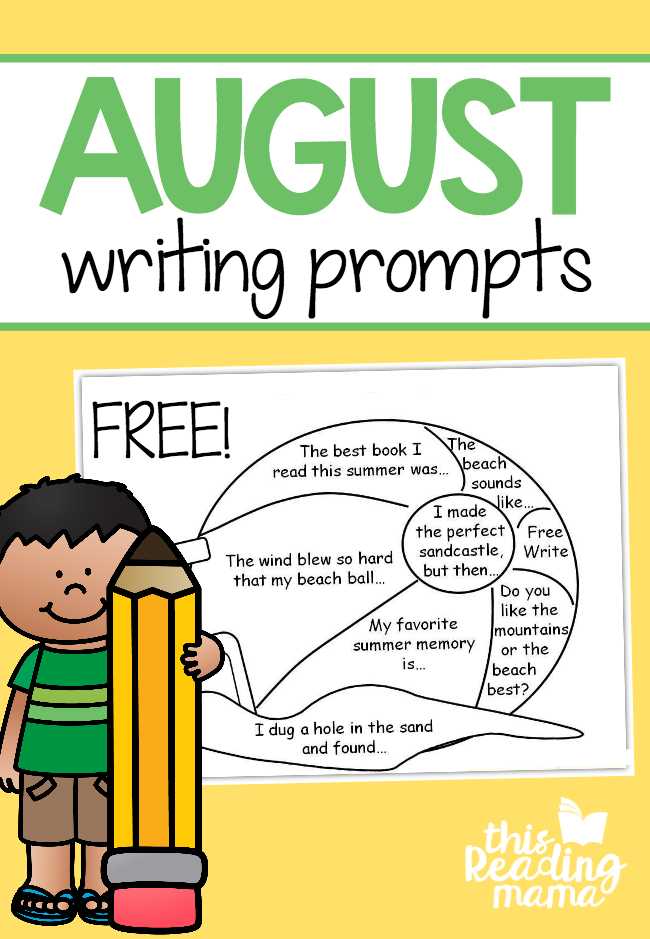 FREE August Writing Prompts - Write then Color - This Reading Mama