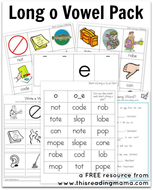 Long o Vowel Pack {Free Printable}