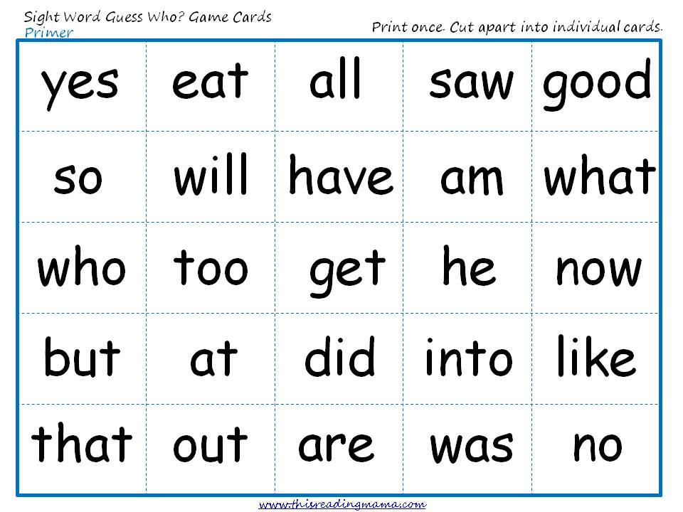 graphic about Printable Sight Word Cards named Sight Term Bet Who-Primer Sport playing cards - This Examining Mama