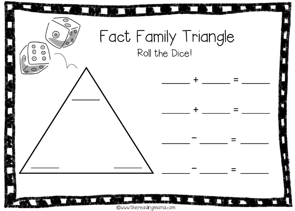 Fact Family Triangle Game Board for Addition and Subtraction