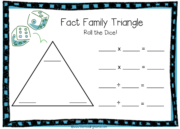 Fact Family Triangle Game Board for Multiplication and Division
