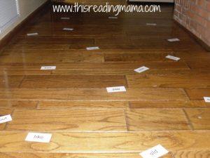 sight word cards on floor