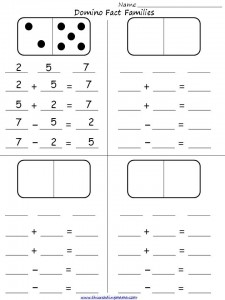 Domino Fact Families Student Activity Sheet