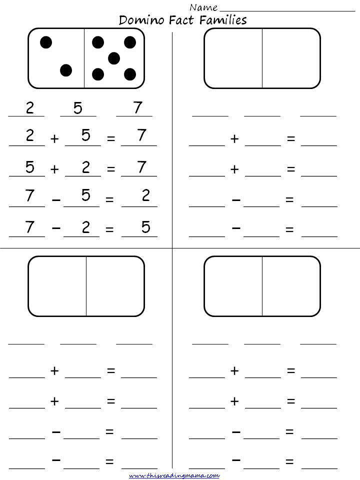 Domino Fact Families Student Activity Sheet This Reading