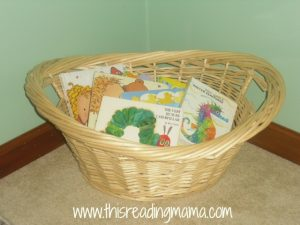 basket for board books, preschoolers