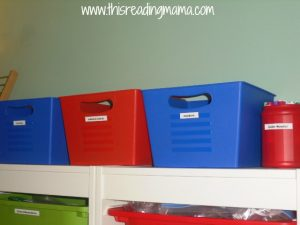 bins for organizing from dollar store