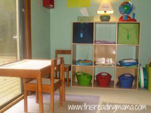 bookshelf for toddler in schoolroom