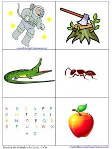 Letter A Color Pocket Chart Cards