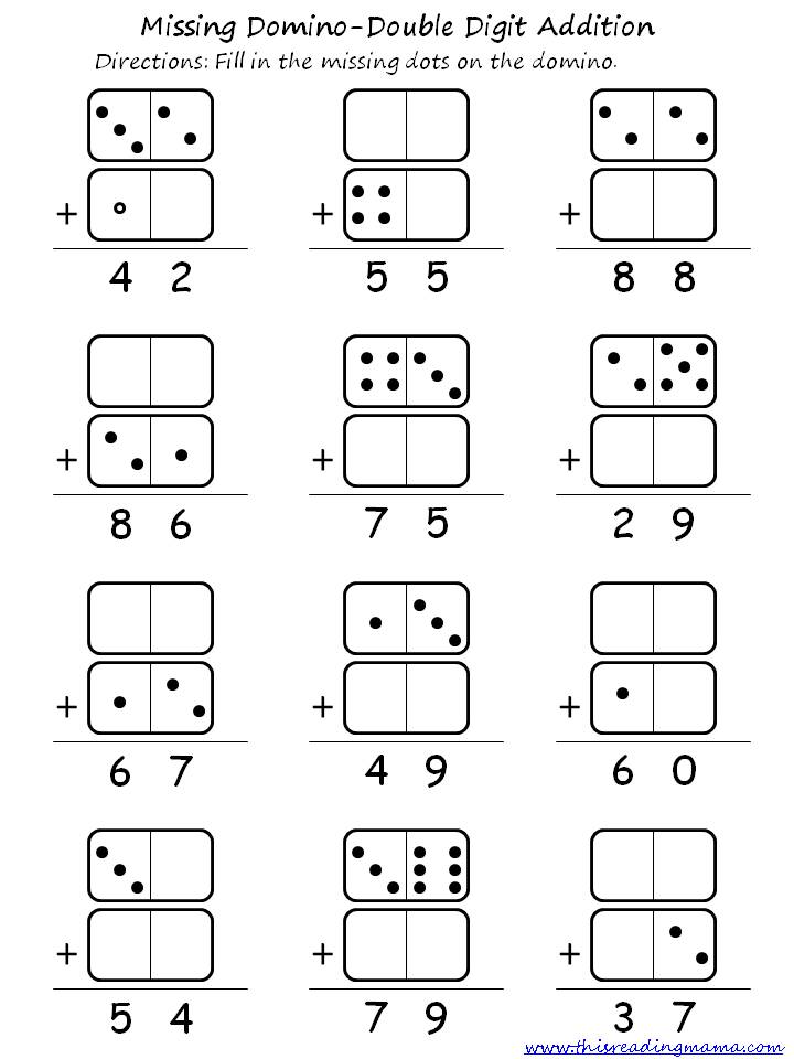 Domino Double Digit Addition Printable