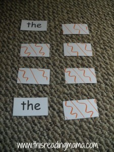 memory match with sight words