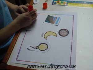rhyming activity with MOON