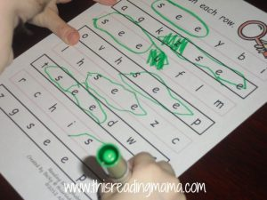 sight word search for see
