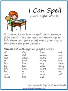 I Can Spell Directions, spelling sight words by analogy
