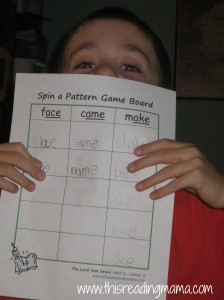 Spin a Pattern Game board