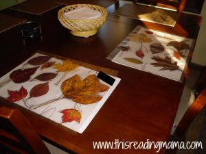 leaf place mats on table