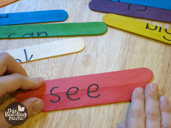 Popsicle Stick Sight Word Puzzles