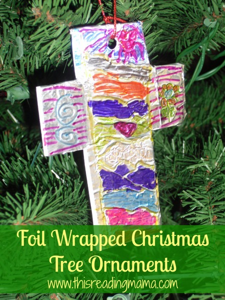 Foil Wrapped Christmas Tree Ornaments {This Reading Mama}