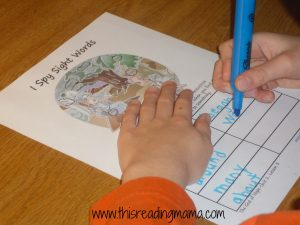 photo of I Spy activity with sight words