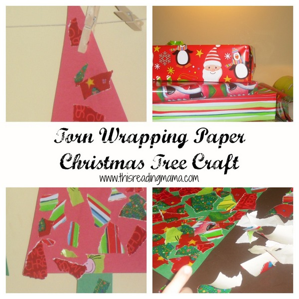 Torn Wrapping Paper Christmas tree craft
