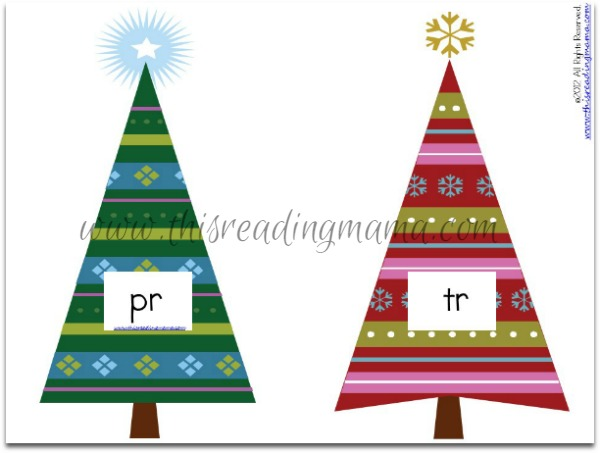consonant blends Christmas trees for r-blends