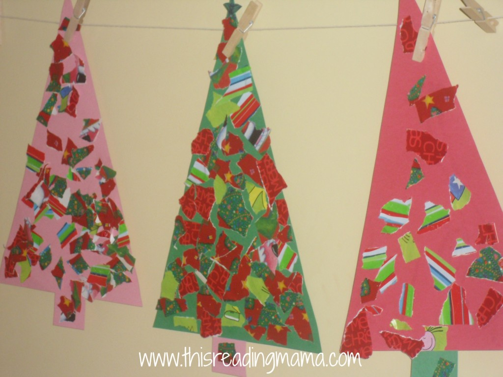 photo of finished torn wrapping paper Christmas tree crafts