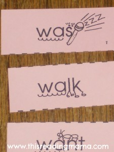 photo of mnemonic cues for wa- sight words