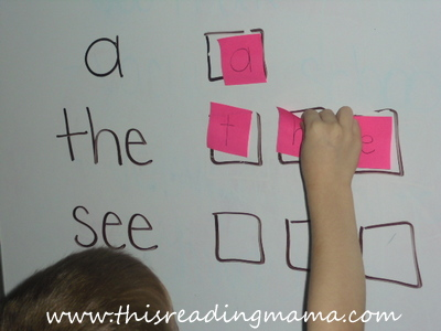 photo of using post-it notes to spell sight words