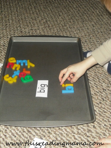 build a word with magnetic letters {This Reading Mama}
