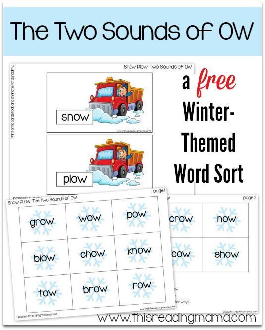 image about Printable Word Sorts referred to as Free of charge Snow-Themed Phrase Variety: The 2 Appears of OW - This