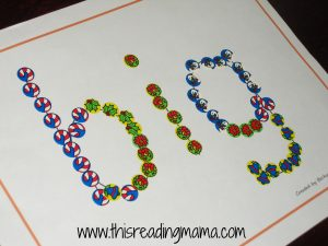 photo of using stickers to spell sight words