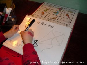 photo of K is for Kite Tracing Page