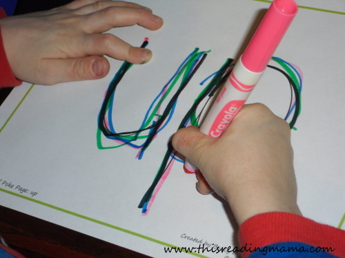 photo of rainbow writing sight words