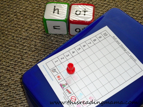Roll an OT Family Word Activity with photo stacking blocks