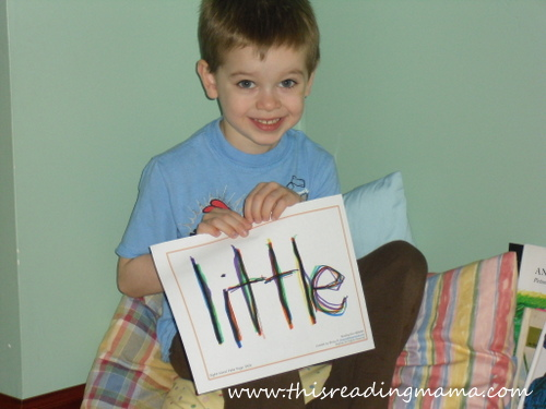 photo of rainbow writing, sight words