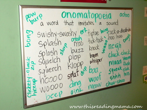 photo of listing onomatopoeias from read alouds | This Reading Mama