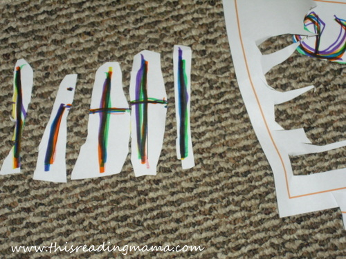 photo of cutting and rebuilding sight words