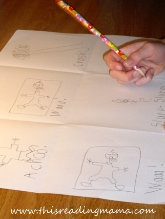 photo of writing and drawing otomatopoeia stories | This Reading Mama