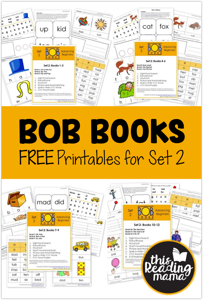 FREE BOB Books Printables for Set 2 - This Reading Mama